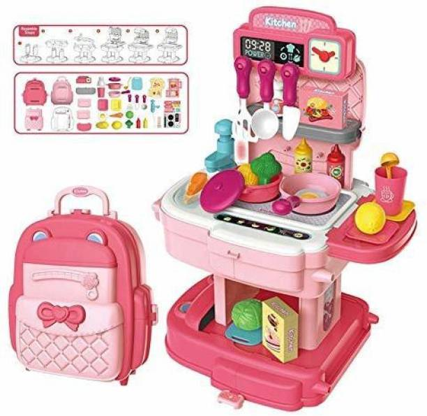 PRESENTSALE Kids 34 Piece Kitchen Play Set with School Bag for Girls, Big Size School Bag Kitchen Toy Set for Kids Girls ( Kitchen Playset )