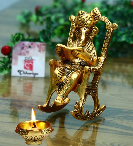 Chhariya Crafts Metal Lord Ganesha Reading Ramayana Statue Hindu Ganesh Ganpati Sitting on Chair With Kuber Diya Idol Sculpture for Home Office and Gifts Decor Diwali Gift corporate Gifts Decorative Showpiece  -  14 cm