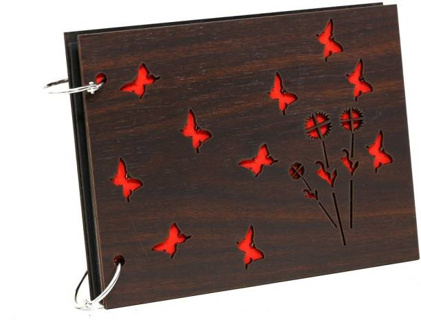 Whichwood Wooden Album with Butterfly and Flowers Album