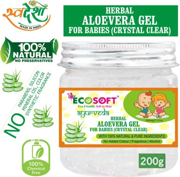 ECOSOFT AYURVEDA New Organic Powerful Benefits of Aloe Vera Gel for Babies,Treating Baby Eczema,Treating Diaper Rash,for Babies' Cuts and Burns.For Skin Lightening , Glowing Skin. Great for Face, Hair, Sunburn Relief, Dry Skin Hydration.100% Natural Ingredients-No Paraben. 200 gm.