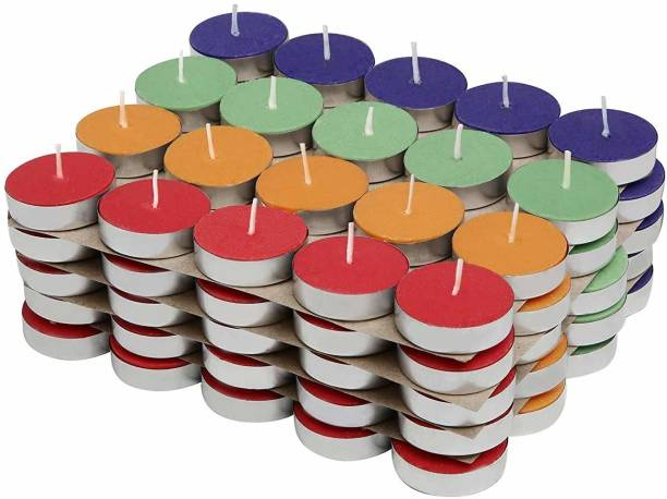 Four Stripes Decorating Candles for Diwali, Smokeless Unscented Multicolour Tealight, Burning Time 3 to 4 hours Candle