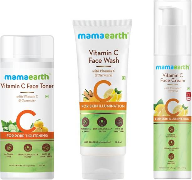 MamaEarth Vitamin C Skincare Regimen Kit(Toner + Face wash + Face Cream) - CTM