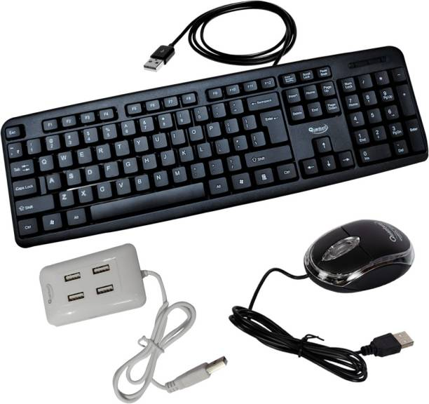Quantum Hi-Tech QHM 7403/222 Wired USB Mouse, Keyboard & USB 4 Port Hub Combo Combo Set