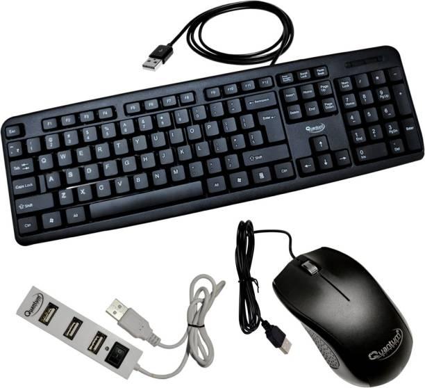 Quantum Hi-Tech QHM 7403/232B Wired USB Mouse, Keyboard & USB 4 Port Hub Combo Combo Set