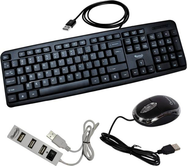 QUANTUM QHM 7403/222/6660 Wired USB Mouse, Keyboard & USB 4 Port Hub Combo Set Combo Set