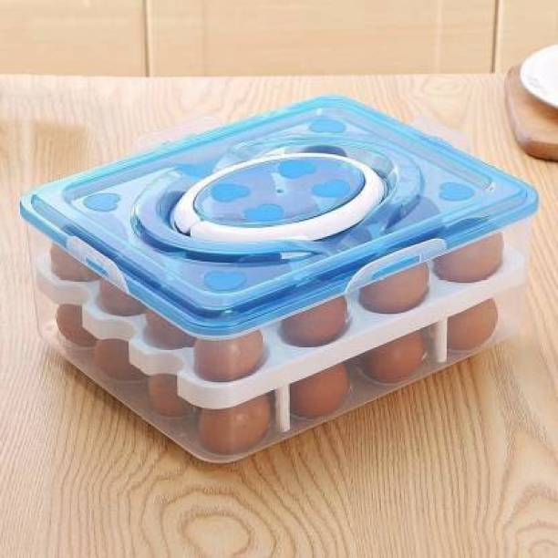 HDAY ENTERPRISE Double Layer 32 Egg Tray Storage Box with lid for Fridge  - 2.66 dozen Plastic Egg Container