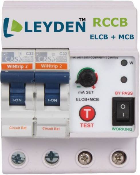 Leyden LSM32 ELCB+MCB Single Phase 2 pole ELCB + RCCB + ISI Marked MCB 32 A with high voltage protection, Overload Protection, Adjustable Leakage current 3 to 30 mA (Shock Guard) Modular MCB MCB