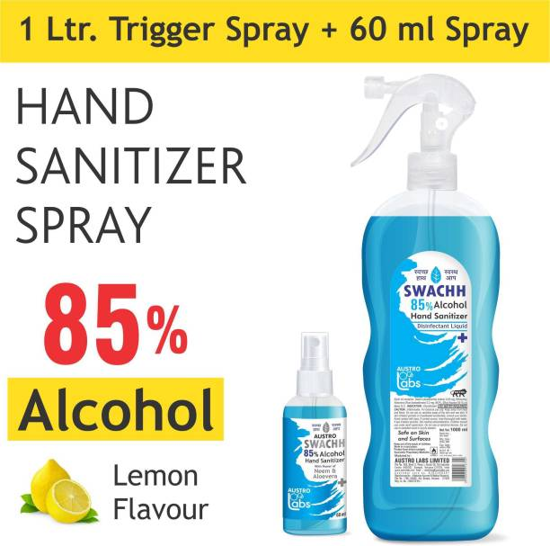 Austro Labs SWACHH 85 HAND SANITIZER SPRAY LIQUID 1 LITER + 60 ML (PACK OF 2) (1060 ML) ETHYL ALCOHOL 85% Sanitizer Spray Bottle