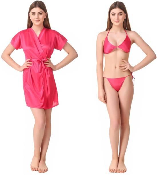 Romaisa Pink Free Size Bath Robe