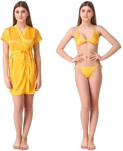Romaisa Yellow Free Size Bath Robe