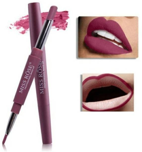 MISS ROSE 2 In 1 Matte Lip Liner Pencil Lipstick Waterproof Long-Lasting Lip Professional Makeup - Pack of 1