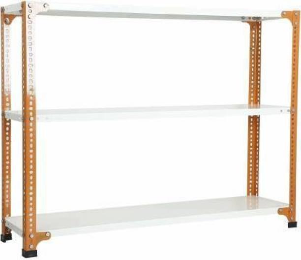 Spacious CRC Sheet 3 Shelf Slotted Angle Rack, 15x36x35 Inch, 20 Gauge sheet, 14 Gauge Angle Luggage Rack Luggage Rack Luggage Rack