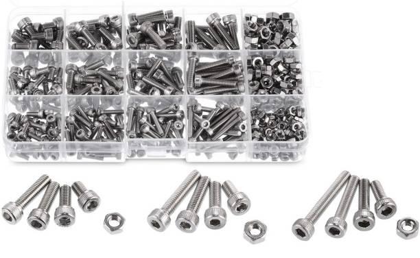 GSK Cut Nut & Bolt Set Stainless Steel Allen Hex Socket Head Cap Screws & Nut 280 pcs, M3/M4/ M5 Kit