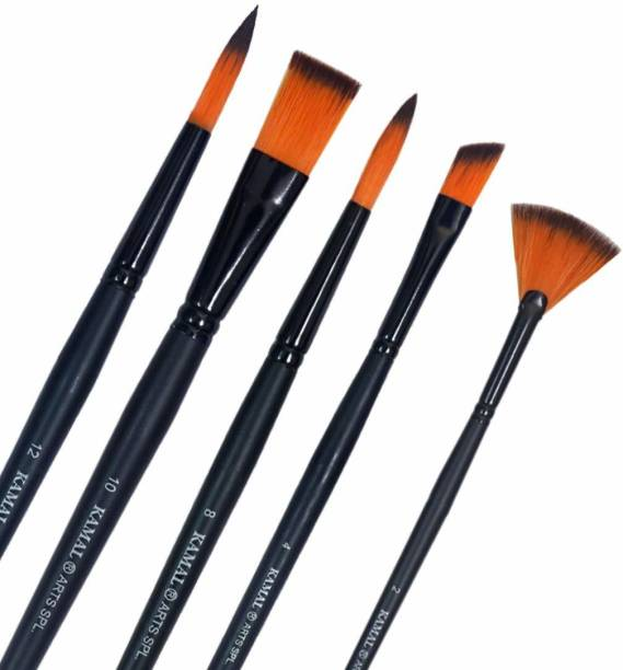 KAMAL Artist Quality Matte Series Black Matte Mix Paint Brush Set for Water, Poster,Acrylic Colours and Modern Art Painting