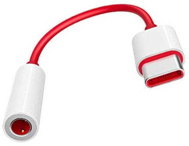 F FERONS Red & White Type C to 3.5 mm Jack Audio Connector, Noise Cancelling Headphones Jack Converter Audio Adapter for On-ePl-us 6/6T/7/7T/7Tpro/8/8Pro/Nord Phone Converter