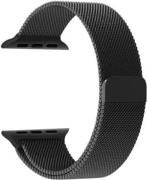 Caxon Stainless Steel Milanese Strap Band with Magnetic Closure for iWatch 38mm/40mm, Compatible with Watch Series 1/2/3/4/5 T_38/40mm_Black(Chain) Smart Watch Strap Smart Watch Strap