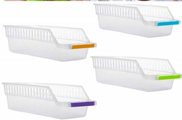 kroywen Pcs Plastic Fridge Space Saver Organizer Storage Rack Tray Box Refrigerator Storage Organisers for Fruits, Vegetables, Cold Drink - 100 ml Plastic Container Storage Basket Storage Basket Storage Basket Storage Basket