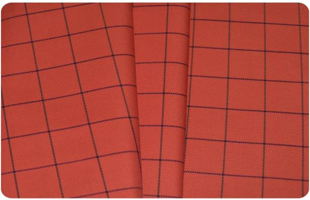 V WALKERS Pure Cotton Checkered Shirt Fabric