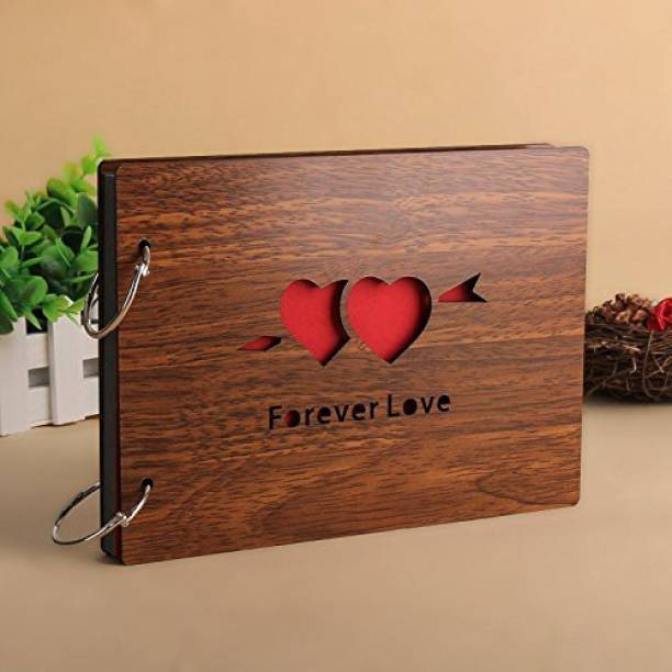 Crafts World Forever Love Wooden Scrapbook Photo Album for Memorable Gift on Boyfriend Girlfriend Husband Wife Spouse Birthdays, Valentines Day, Anniversary, Monthsary for Couples Album
