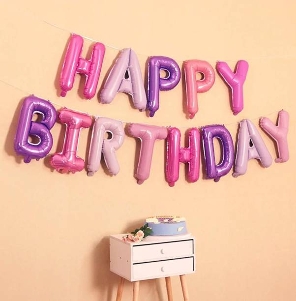 DECOR MY PARTY Solid HAPPY BIRTHDAY Letter Foil Balloon Set For Birthday Party Supplies / Happy Birthday Balloons For Birthday Decoration Letter Balloon