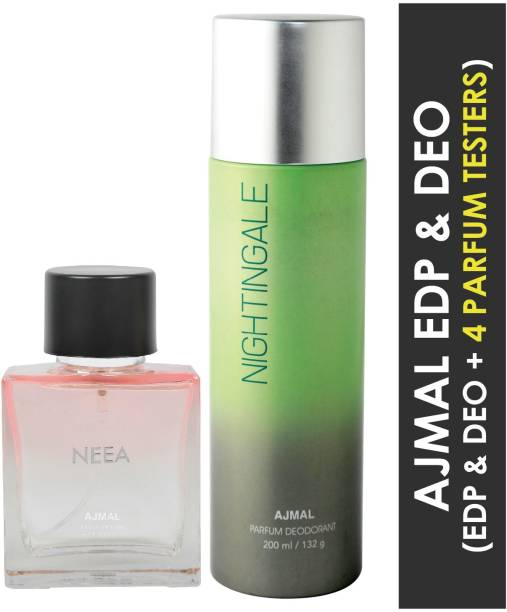 Ajmal Neea EDP for Women 100ml & Nightingale High Quality Deodorant for Men & Women 200ml Combo pack of 2 (Total 300ml) + 4 Parfum Testers