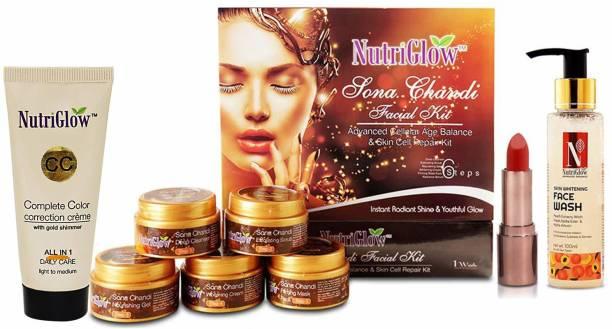 NutriGlow Sona Chandi Facila Kit/Advanced Face wash/BB Cream/Red Lipstick