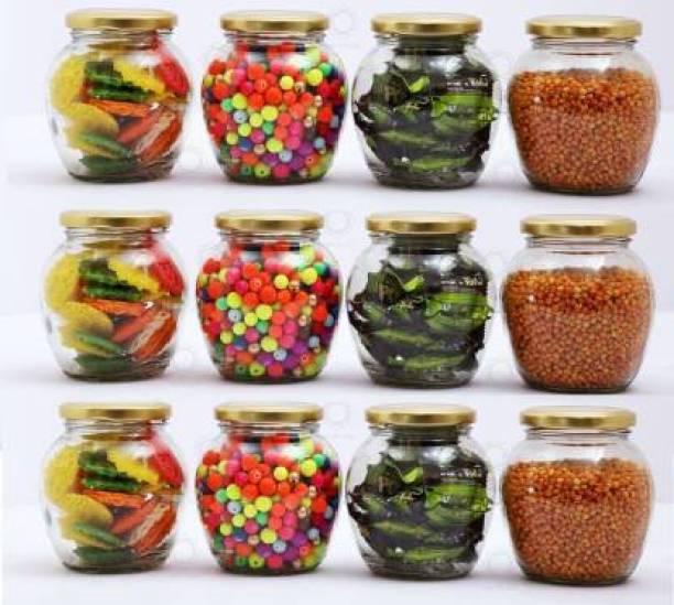 SHOPIE KART 400 ml Matka Shape Glass jar with Rust Proof Air Tight Lid for Storage Spices Glass Jars Set Glass Jars for Kitchen Glass jar containers Lass jar and containers for Storage set of 12  - 400 ml Glass Honey Jar