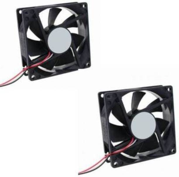 TechSupreme DC FAN - 80X80X25MM (12V) Pack of 2 for PC Case, CPU Cooler Cooler