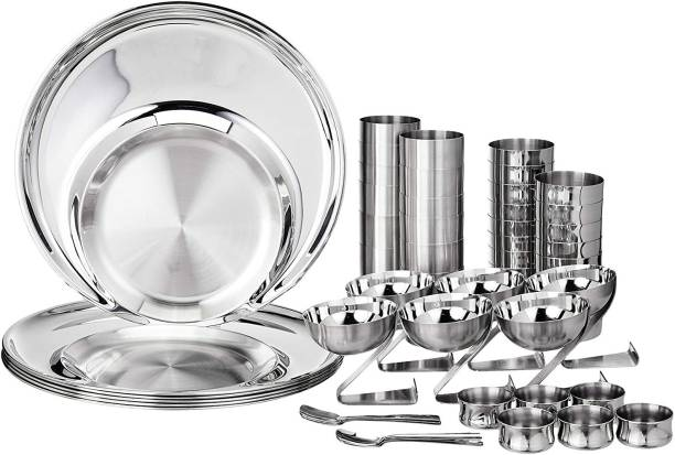 bhalaria Pack of 54 Stainless Steel 251165 Stainless Steel Dinner Set, 54-Pieces, Silver Dinner Set