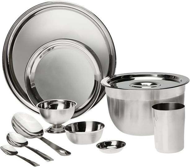 bhalaria Pack of 60 Stainless Steel Stainless Steel Dinner Set, 60-Pieces, Silver Dinner Set