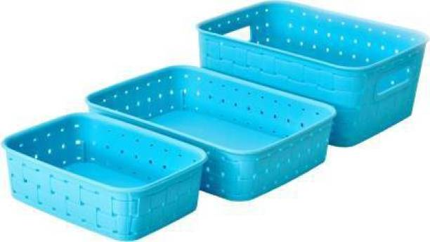 Madhuvan Fruit And Vegetable Basket Set Of 3,( Blue, Plastic ), Plastic Fruit & Vegetable Basket