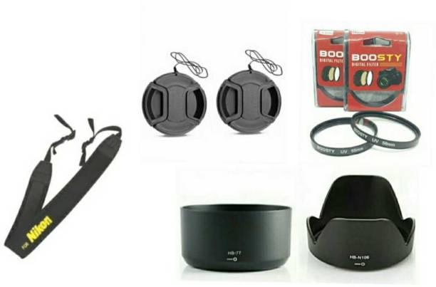 BOOSTY COMBO 2Psc UV filter/Lens cap/Neck strap/lens hood for af-p 18-55mm & 70-300mm lens  Lens Hood