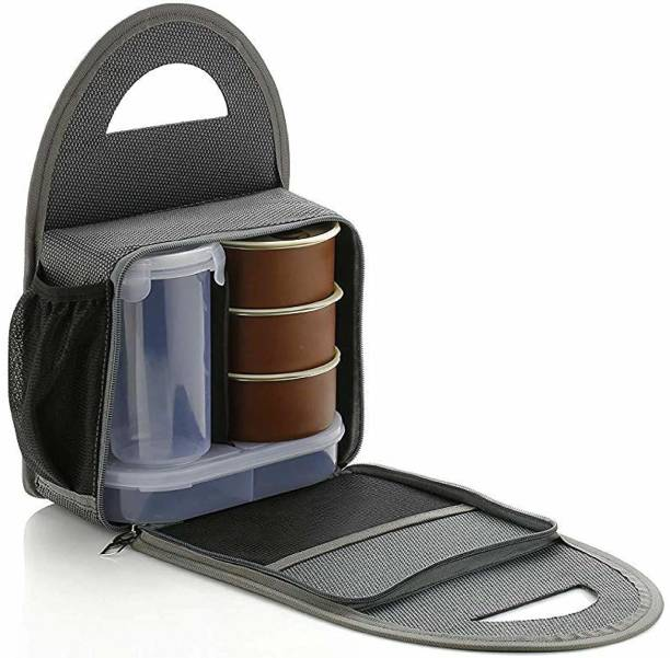 S ENTERPRISE Stainless Steel Lunch Box - Tiffin Box with Bag for Office use, Student, Women, Men, Girls 5 Containers Lunch Box
