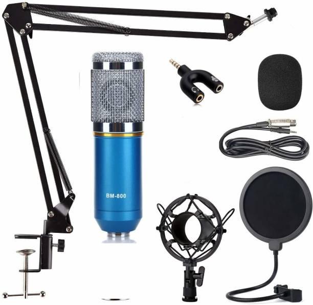 DawnRays Studio Recording Microphone Set, Studio Mic Kit With Adjustable Mic+ Boom Scissor Arm Stand+ Pop Filter XRL To 3.5mm + 3.5mm Audio Splitter (mic set) Microphone