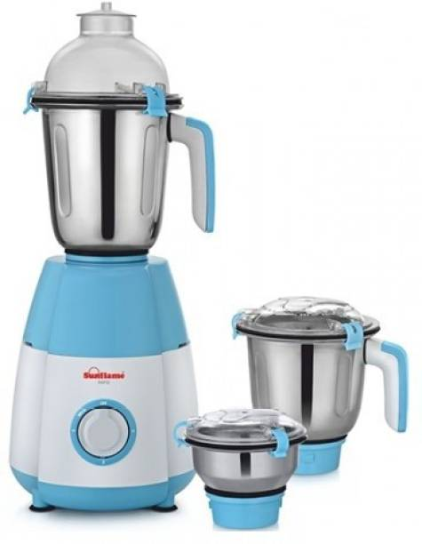 SUNFLAME MG Rapid 750 Mixer Grinder (3 Jars, Blue, White, Silver)