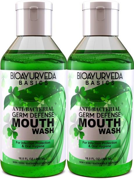 BIOAYURVEDA ANTI-BACTERIAL GERM DEFENSE MOUTH WASH | Ayurvedic Oral Rinse with Neem, Mint, Turmeric Tea Tree oil | Natural Organic Mouthwash liquid for bad breath, plaque, cavities and gum problems 200 ml - Pack of 2 - Natural