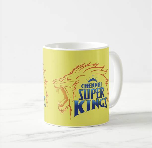 """V Kraft """"chennai super kings"""" with logo printed White Ceramic with Handle-Perfect Gift to Anyone On Any Occasion 