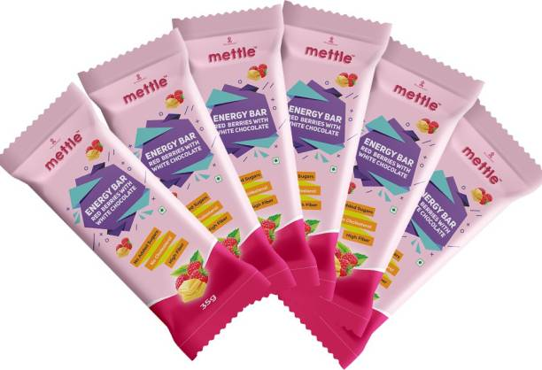 mettle Red Berries with White Chocolate Bar Pack Of 6 ( 35 gm x 6 ) Energy Bars