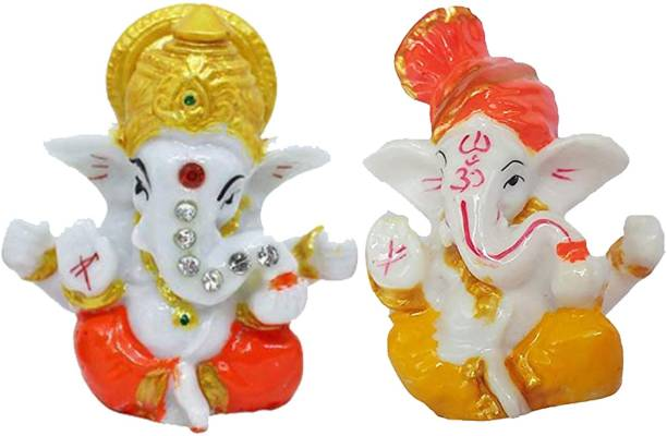 HK Trader God Idol Gifts - Set of 2 Ganesh Idol for Car Dashboard-Pooja Room-Gifts-Office-Shop-Home Decor Decorative Showpiece  -  9 cm