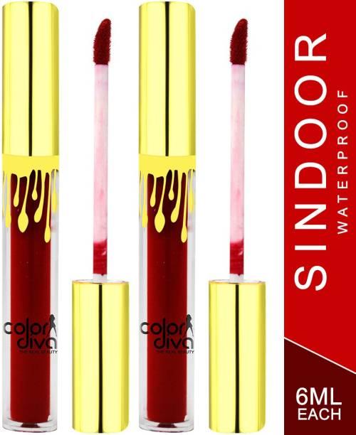 Color Diva Waterproof & Long Lasting Sindoor, Red, 6ml (S101) Pack of 2 Sindoor