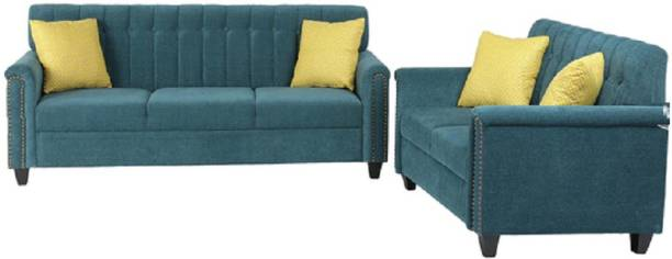 Smilemindia Fabric 3 + 2 Teal Green Sofa Set