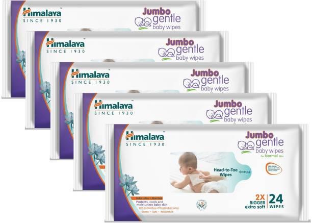 HIMALAYA Jumbo Gentle Baby Wipes - 24 Count (Pack of 5) (120 Wipes)