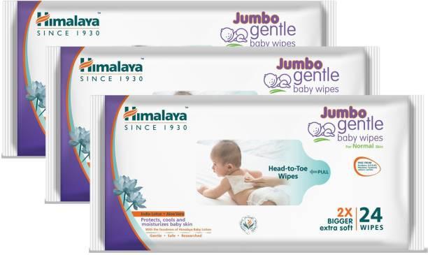 HIMALAYA Jumbo Gentle Baby Wipes - 24 Count (Pack of 3) (72 Wipes)
