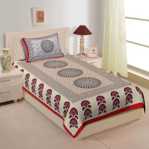 UNIBLISS 144 TC Cotton Single Paisley Bedsheet