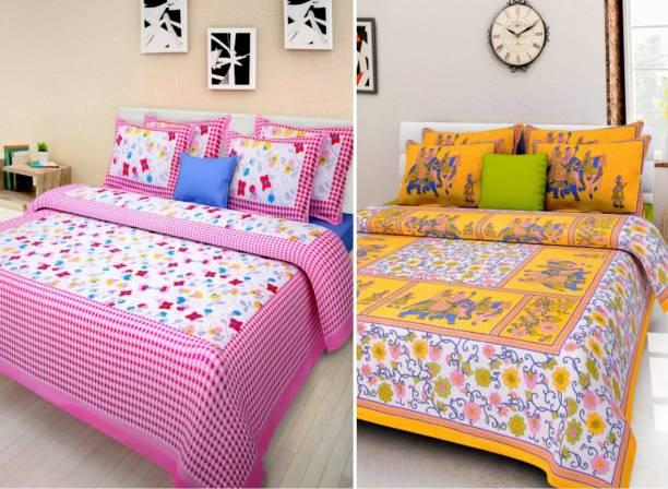BATHAM HANDLOOM 250 TC Cotton Double Printed Bedsheet