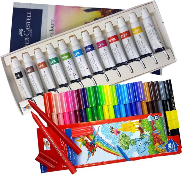 FABER-CASTELL Majestic Basket Creative Studio 12 Shades Watercolours Set Alongwith 25 Shades Connector/ Sketch Pen