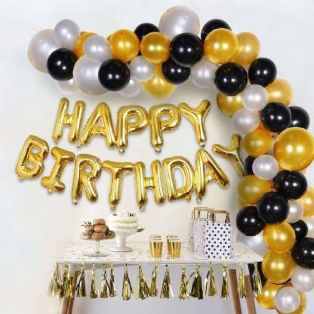 KR Solid Happy Birthday Balloons Decoration Kit 43Pcs Set For Husband Kids Boys wife Balloons Decorations Items Combo, Helium Letters Foil Balloon Banner,Metallic Balloons,Golden Silver Black Decor Balloon Bouquet (Silver, Pack of 43) Balloon