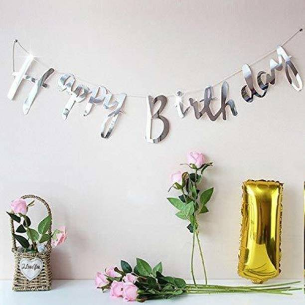 PartyballoonsHK Silver Calligraphy Happy Birthday Banner Decoration for Boys, Girls, Boyfriend, Girlfriend, Husband,Kids Bday Celebrations, Bunting Tags, Flag Decorative Items Decor Banner