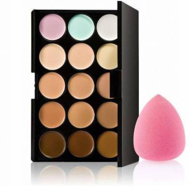 Jollity 15 Colors Contour Concealer Palette+ 1 Beauty Flawless Makeup Blender Puff