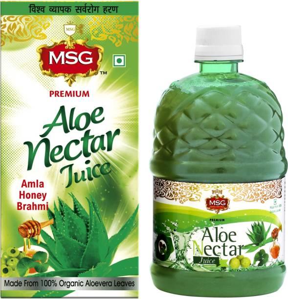 MSG Aloe Vera Juice with Amla, Honey and Brahmi (Made From 100% Organic AloeVera Leaves)